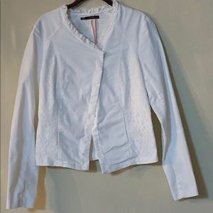 Maurices white jacket with lace accents